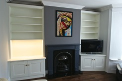 Classic alcoves with lighting and an angled front
